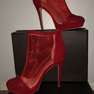 Angle Booties Sparkle Red w/Netting